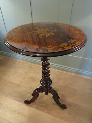 Rosewood Wine Table Inlaid Satinwood Border Marquetry Flower Panel