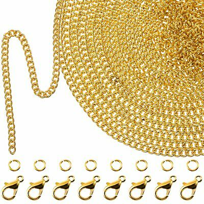 33 Feet Gold Plated Link Chain Necklace with 30 Jump Rings Chain