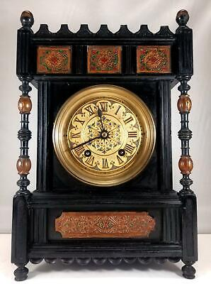 Lenzkirch Aesthetic Movement Ebonised Mantel Clock Serviced G.W.O Arts & Crafts