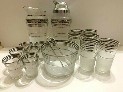 Mid-century Modern white frosted silver crome glass bar set 16 piece NICE!!
