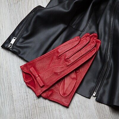 Italian Leather Gloves Unlined Made in Italy Red Brand New