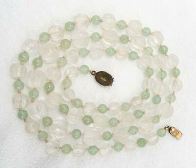 "Antique Chinese Carved Melon Rock Crystal Quartz Knotted Bead 37"" Necklace 105g"