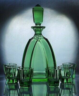 Art Deco Bohemian Uranium Green Faceted Glass Decanter/Carafe set & 6 glasses