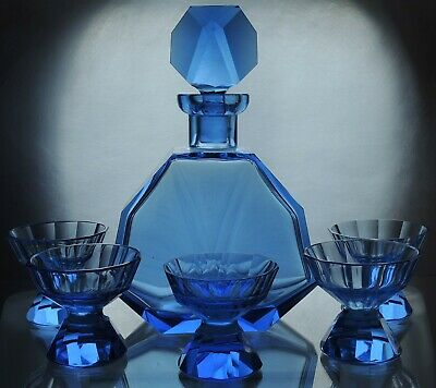 Art Deco Bohemian Faceted Deep Sapphire Blue Glass Decanter/ Carafe & 5 short gl