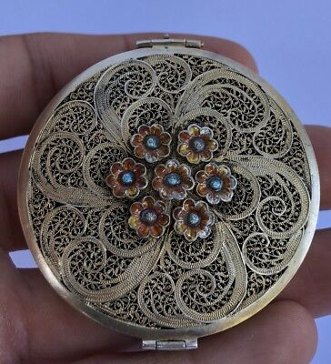Antique Enamel Daisy Flower Gilt Sterling Silver Filigree Compact - Mint