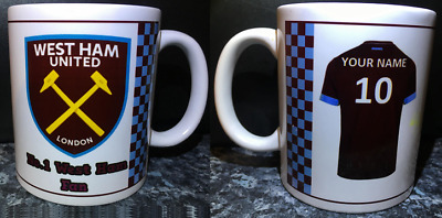 PERSONALISED West Ham Christmas Mug - Add your own name & Number to shirt