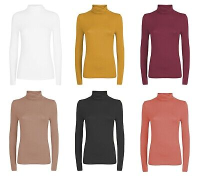 Womens Cotton Plain Long Sleeve Casual Roll Polo Turtle Neck Jumper Top 8-18