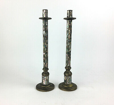 Vintage Los Castillo Mexican Silver Plate Mosaic Shell Tall Candlestick Pair MCM
