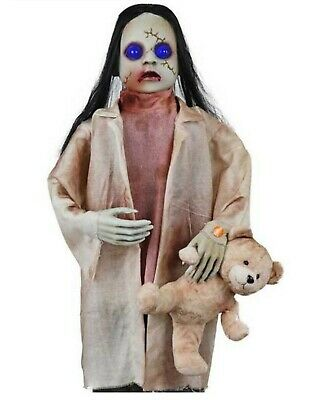 36 in. Animated Zombie Girl with Teddy Bear and LED Eyes Halloween Decorations