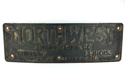 Antique Cast Iron 1920s Northwest Engineering Co. Crane Excavator Machine Sign