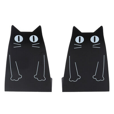 1 Pair Metal Bookends Cat Shape Heavy Duty Magazines Organiser for CDs Magazines