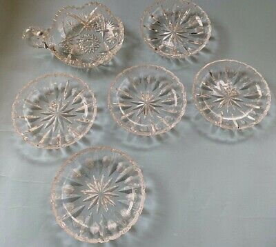 VTG ABP American Brilliant Cut Crystal Glass Sawtooth berry Bowl dish starburst