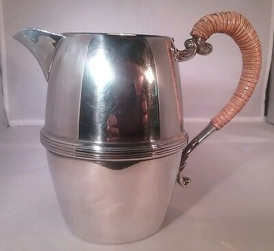 Vintage silver plated milk or water jug wicker handle