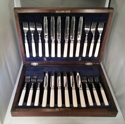 Antique fruit cutlery set silver collar Yates Bros Sheffield 1922 fitted case
