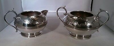 Vintage silver plate cream/milk jug sugar bowl Hamilton Laidlaw & Co