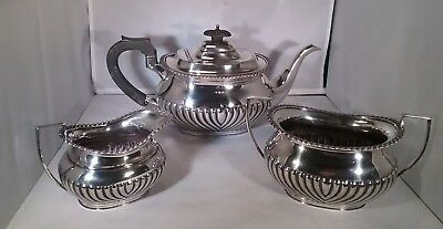 Antique silver plated 3 piece tea service fluted design Mappin & Webb c.1900