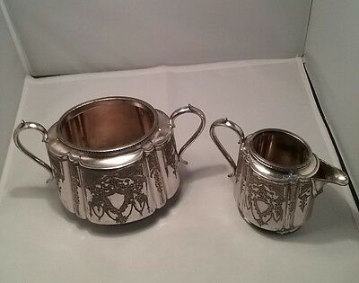 Vintage silver plate cream/milk jug sugar bowl