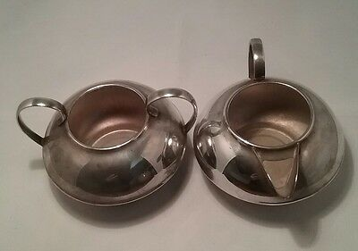 Silver Plated 1930S Art Deco Cream/Milk Jug And Sugar Bowl