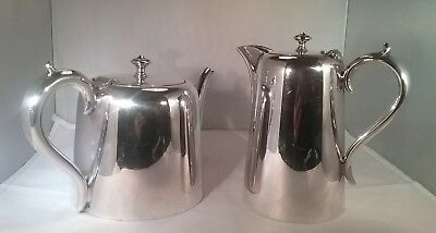 Pair of vintage silver plated hotel ware tea & coffee pots Barker Brothers