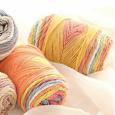 Cotton Wool Yarn Crochet Knitting Hand-woven Rainbow Color DIY Sweater Scarf