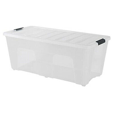 Large Plastic Storage Tote 53 Qt Container Clear Stackable Box With Lid Bin PVC