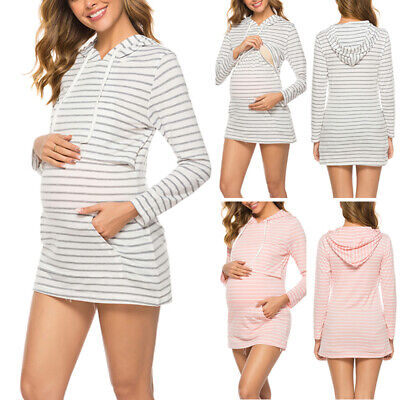 Women's Printed Plus Size Maternity Nursing Dress Slim Fit Mini Hooded Sweater