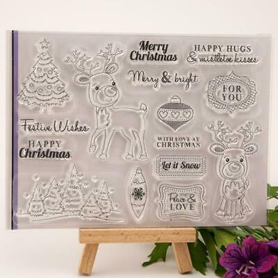 Merry Christmas Deer Transparent Clear Stamp Silicone DIY Scrapbooking Card Gift