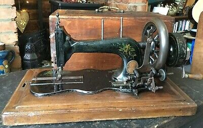 Antique Frister & Rossmann Fiddle Base Hand Crank Sewing Machine 1883 RosesDecal