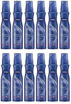 12 pezzi NIVEA STYLING MOUSSE CARE & HOLD Rigenerante Extra Strong 150 ml
