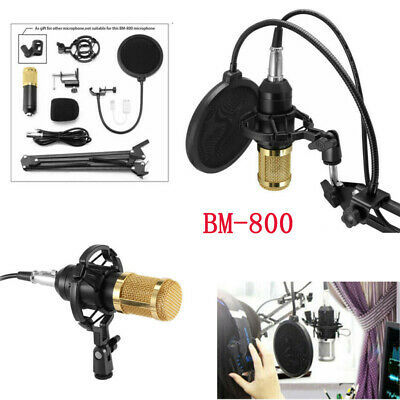 BM800 Condenser Microphone Mic Sound Recording Kit Arm Stand with Shock Mount UK