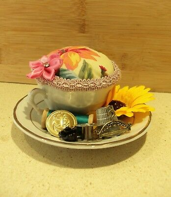 Unique handmade pin cushion pin keep sewing gift OOAK mini tea cup habberdashery