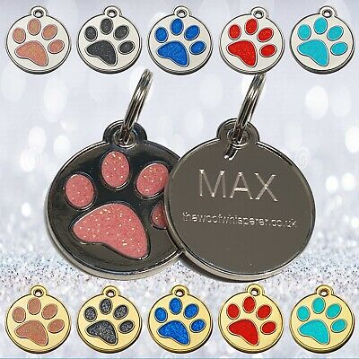Engraved Glitter Pet Tag Paw Print Disc Dog Cat Personalised Pet ID Tag 30mm