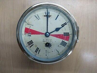 Vintage Maritime radio operators clock Astral winding,R.F Bovey LTD,key, working