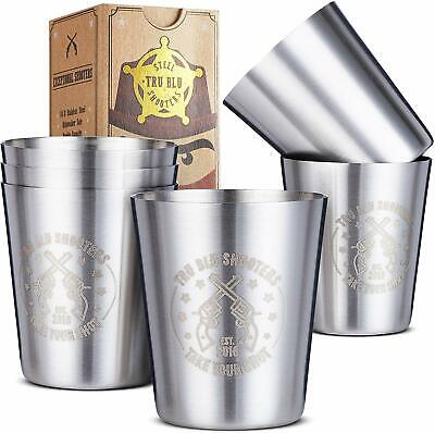 Stainless Steel Shot Glasses (Set of 6) - 2 oz Unbreakable Metal Shooters for Wh