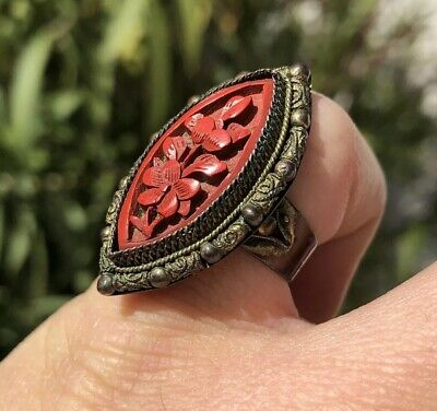 Antique Old Chinese Export Cinnabar Ornate Floral Adjustable Ring #1