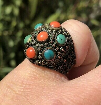 Antique Old Chinese Export Red Coral & Turquoise Ornate Floral Adjustable Ring