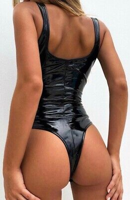 Sexy 💕 PVC, Shiny, Wetlook, String Body, Schwarz ( XL )