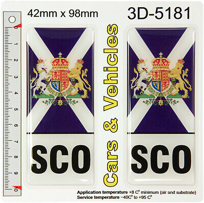 2x SCO Saltire Flag Scottish Coat of Arms Resin Domed Number Plate Decals Badges