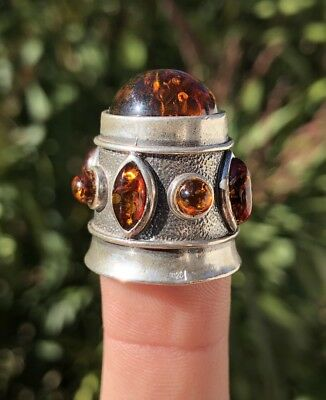 Vintage Russian Sterling Silver Baltic Honey Amber Family Crest Crown Thimble