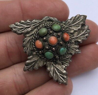 Antique Old Export Chinese Silver Red Coral & Turquoise Floral Dress Clip Brooch