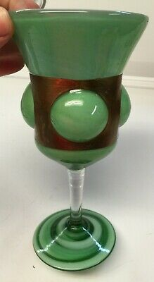 UMB62 - Green Goblet with Bronze metal around cup - great design