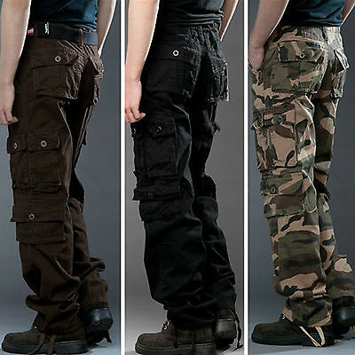 Mens Military Cargo Pants Camo Army Tactical Combat Pocket Work Trousers Outdoor