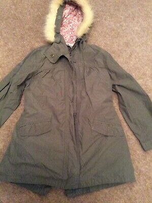 Monsoon Girls Green Hooded Parka Age 6-8 Yr (with Removable Quilted Liner) New
