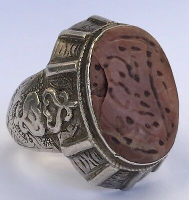 Vtg Antique Old Chinese Export Sterling Silver Filigree Carved Red Cinnabar Ring