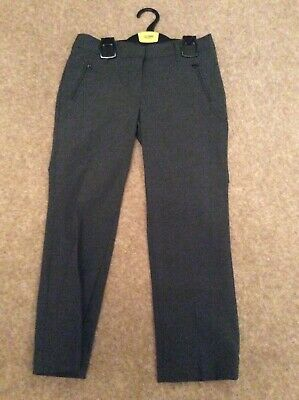 Marks & Spencer Girls Grey School Trousers Age 7-8 Yrs Plus Fit New Without Tags