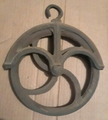 Vintage Cast Iron Steel Water Well Barn Pulley Wheel  9""