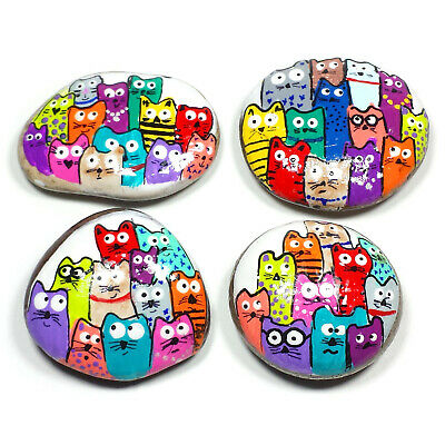 Rock Painting Your Choice 2 to 2.5 inch RP48 Puzzle Cats Hand Painted Rock