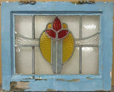 "OLD ENGLISH LEADED STAINED GLASS WINDOW Cute Abstract Design 18"" x 14.5"""