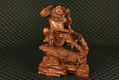 Chinese old boxwood hand carved zhong kui buddha monk statue collectable