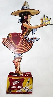 HUGE Miller High Life Girl In The Moon Metal Sign RARE 5ft Tall Beer Bar
